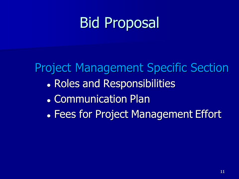 Bid Proposal Project Management Specific Section