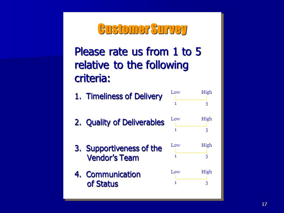 Customer Survey Please rate us from 1 to 5 relative to the following criteria: 1. Timeliness of Delivery.