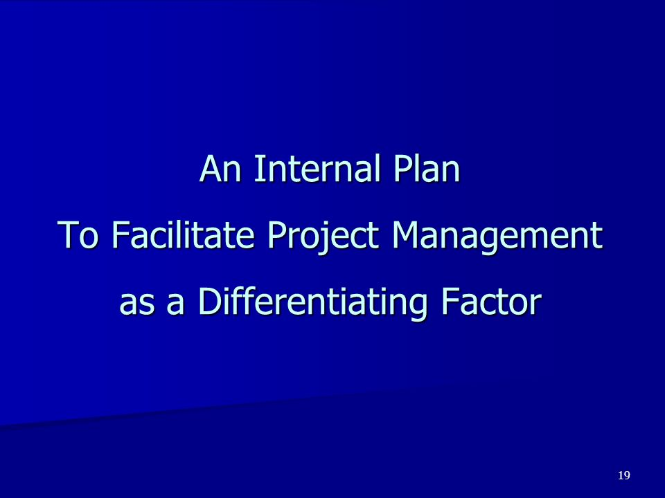 An Internal Plan To Facilitate Project Management as a Differentiating Factor
