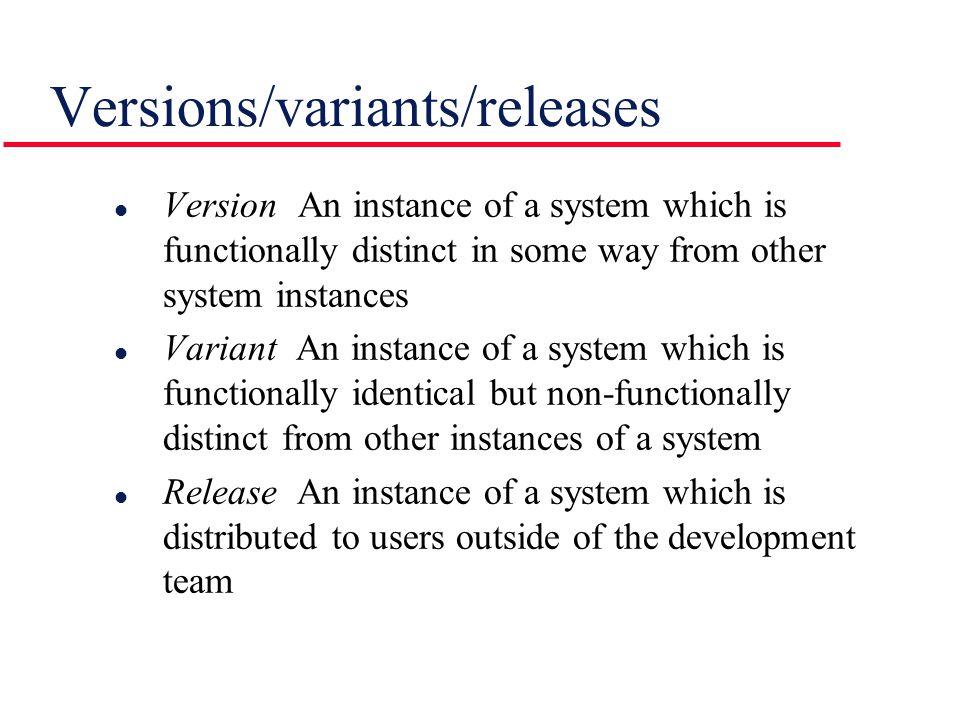 Versions/variants/releases