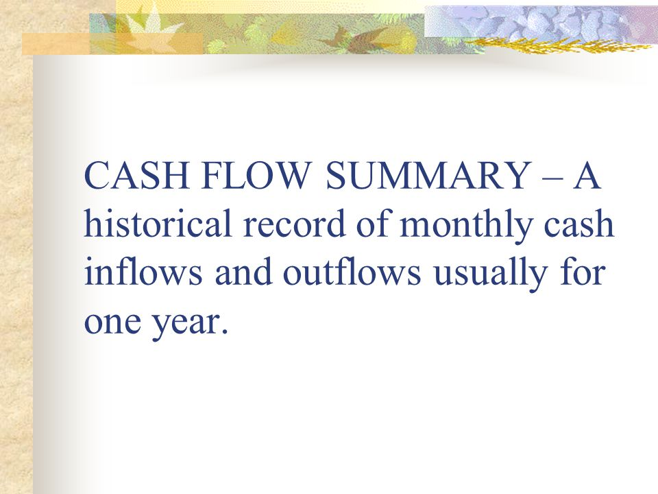 CASH FLOW SUMMARY – A historical record of monthly cash inflows and outflows usually for one year.