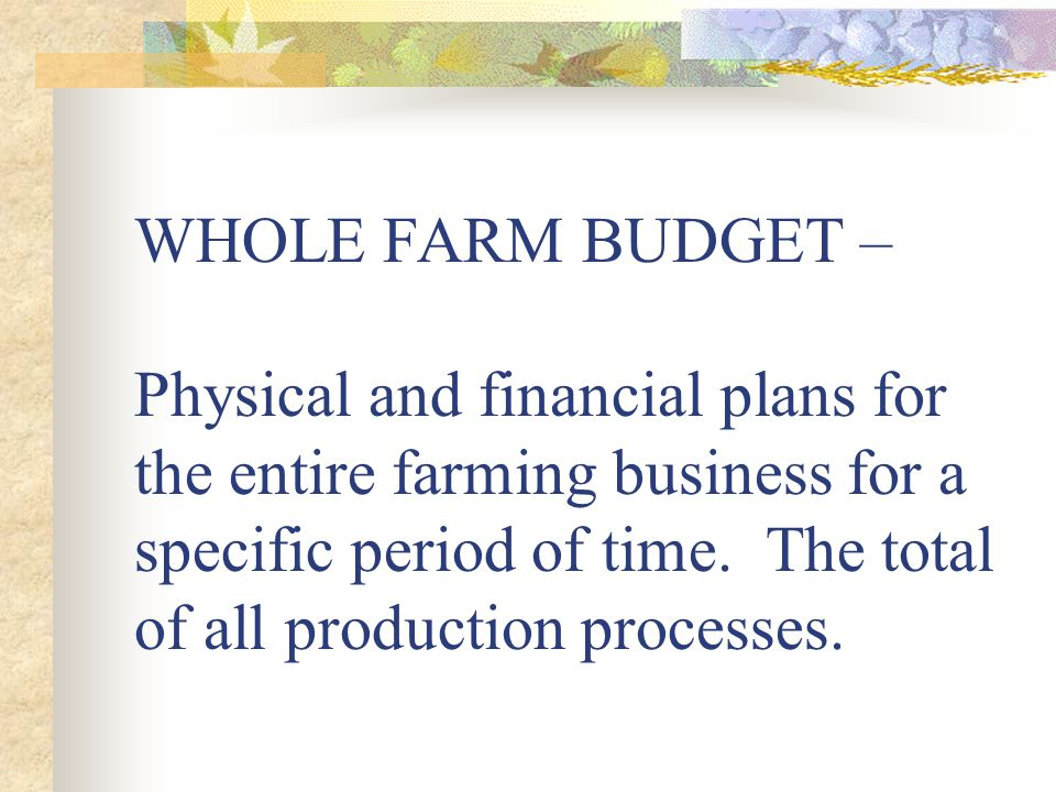 WHOLE FARM BUDGET – Physical and financial plans for the entire farming business for a specific period of time.