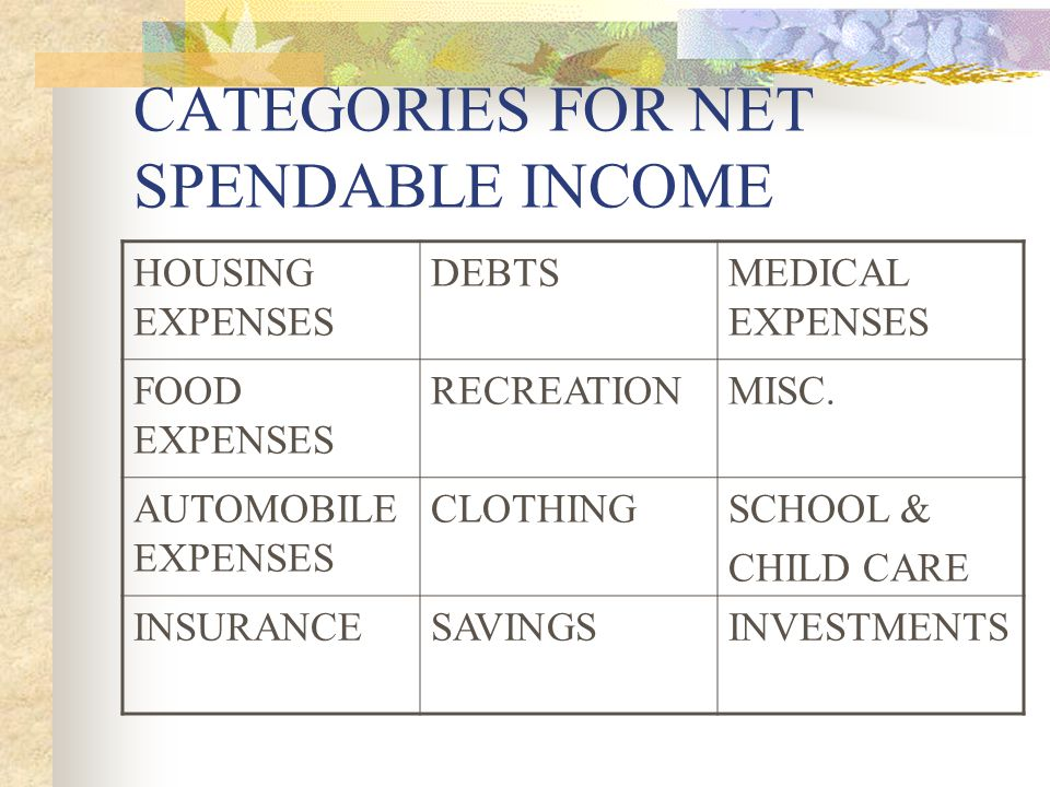 CATEGORIES FOR NET SPENDABLE INCOME