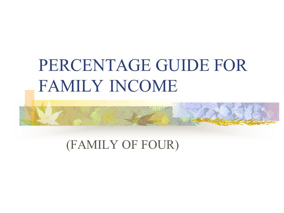 PERCENTAGE GUIDE FOR FAMILY INCOME