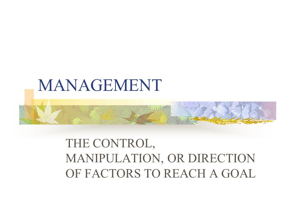 THE CONTROL, MANIPULATION, OR DIRECTION OF FACTORS TO REACH A GOAL