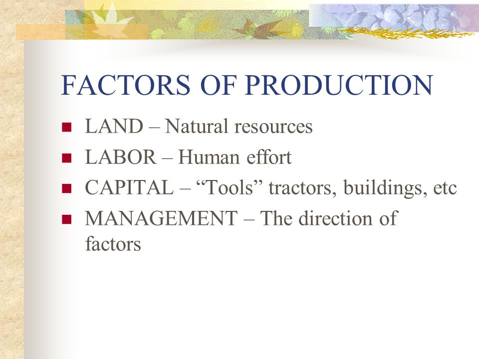 FACTORS OF PRODUCTION LAND – Natural resources LABOR – Human effort