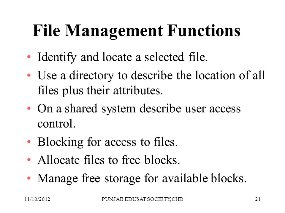 File Management Functions