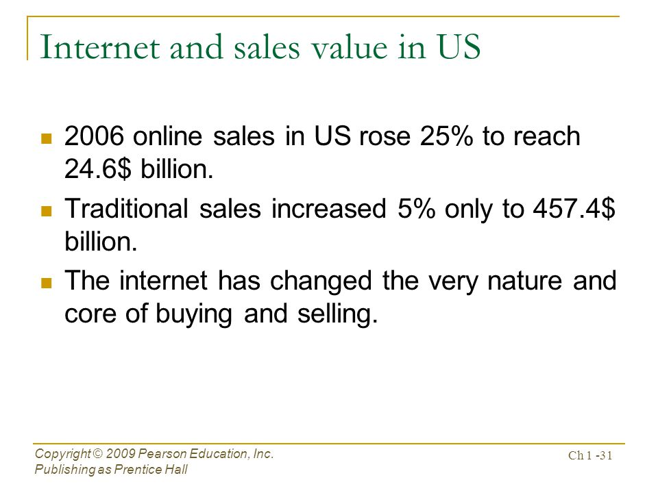 Internet and sales value in US