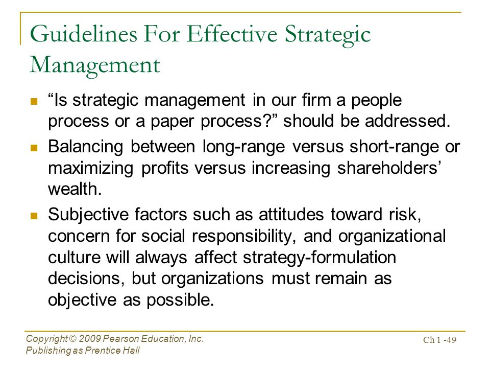 Guidelines For Effective Strategic Management