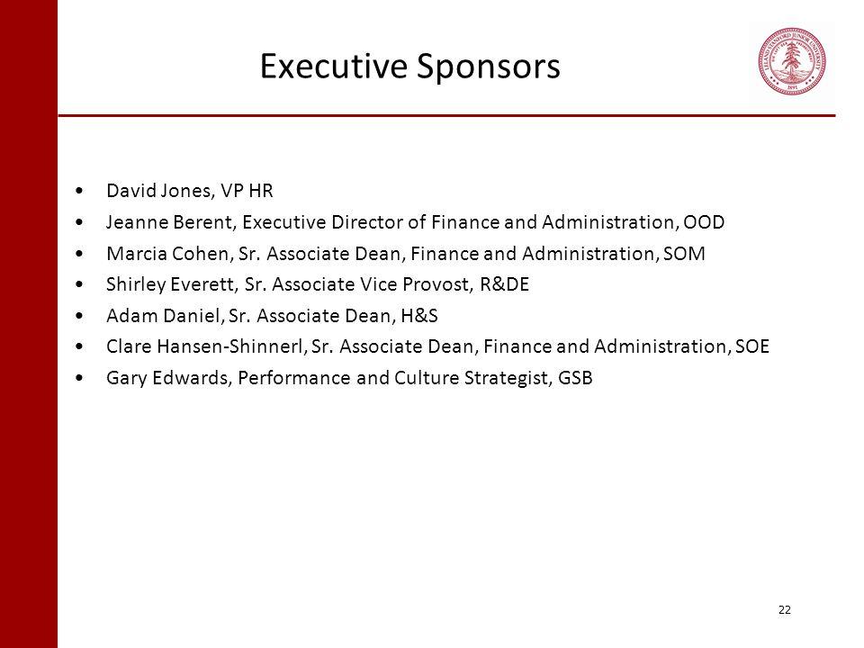 Executive Sponsors David Jones, VP HR