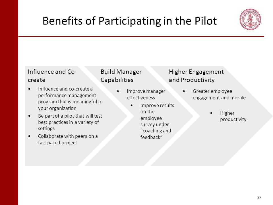 Benefits of Participating in the Pilot