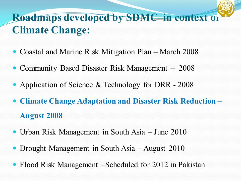 Roadmaps developed by SDMC in context of Climate Change: