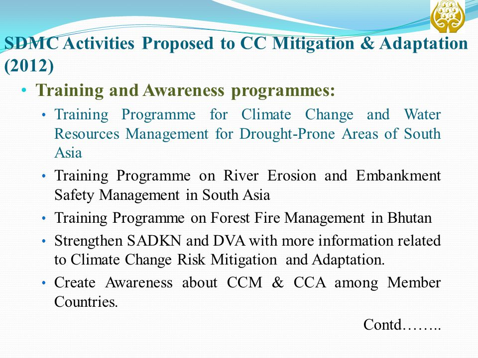 SDMC Activities Proposed to CC Mitigation & Adaptation (2012)