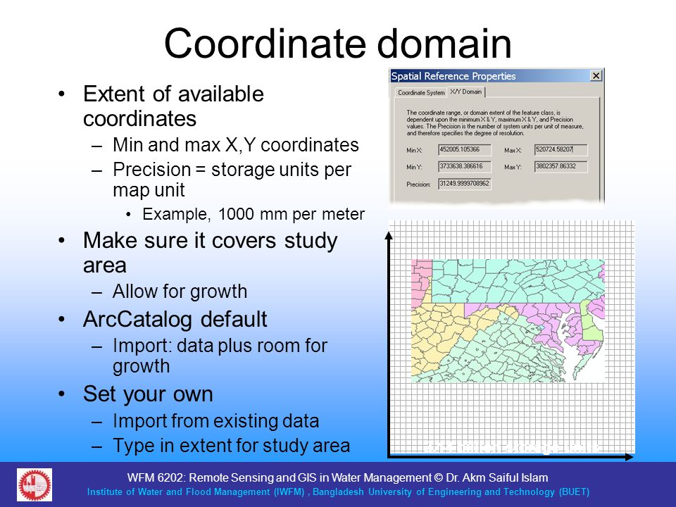 Coordinate domain Extent of available coordinates