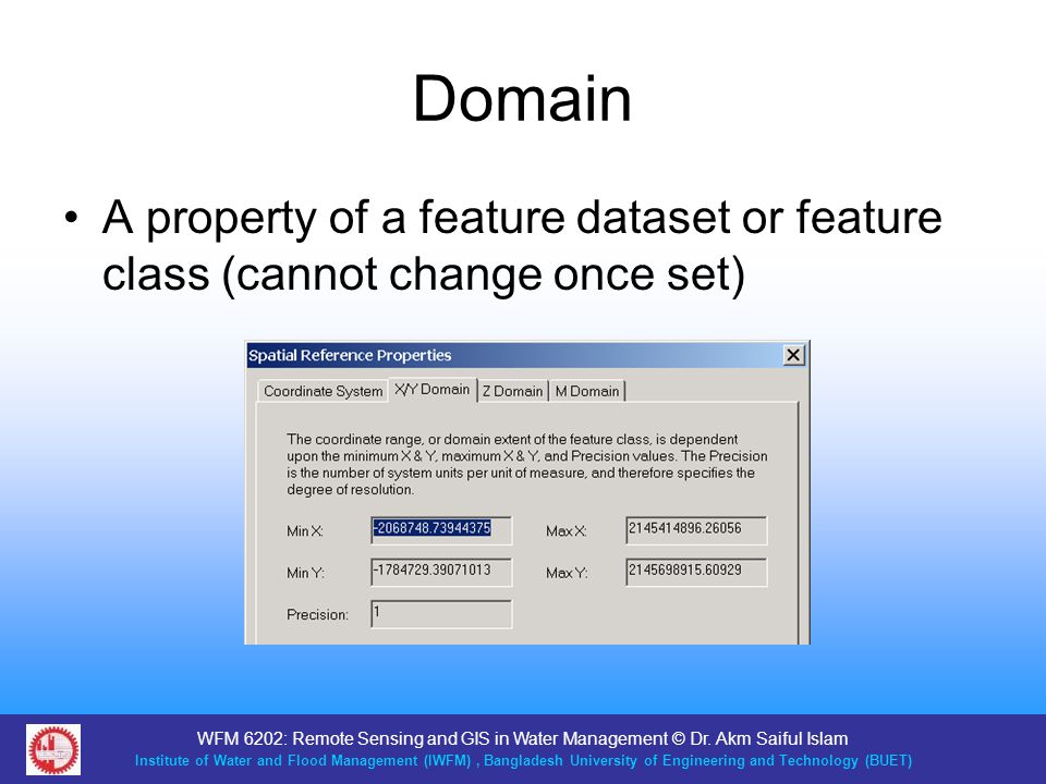 Domain A property of a feature dataset or feature class (cannot change once set)