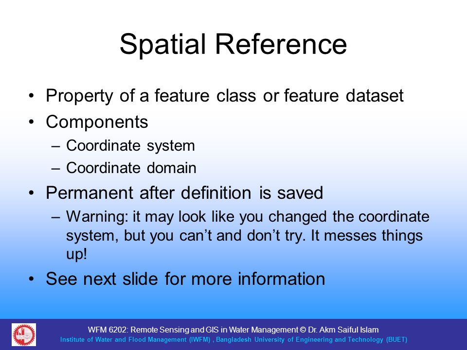 Spatial Reference Property of a feature class or feature dataset