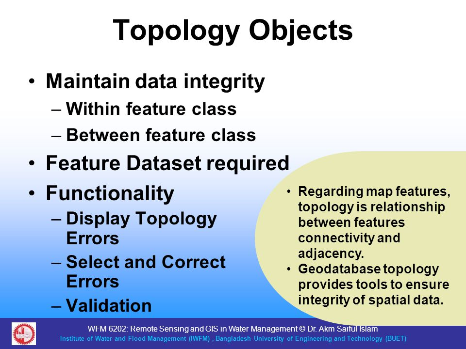 Topology Objects Maintain data integrity Feature Dataset required