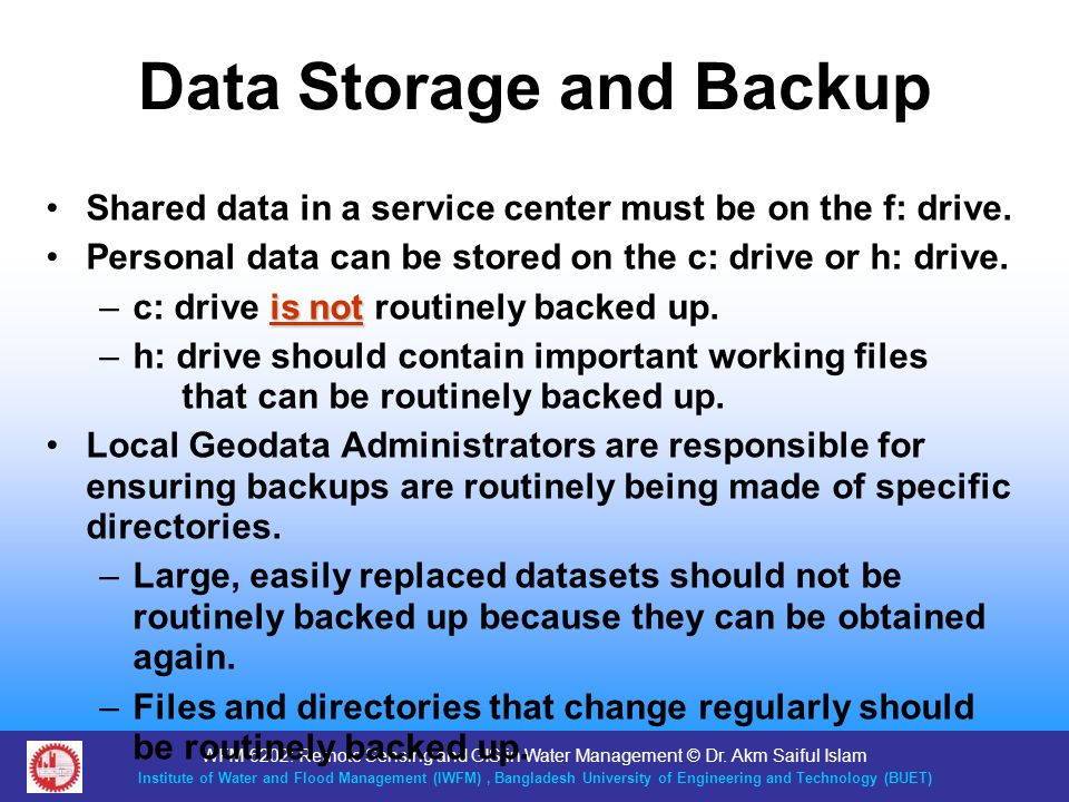 Data Storage and Backup