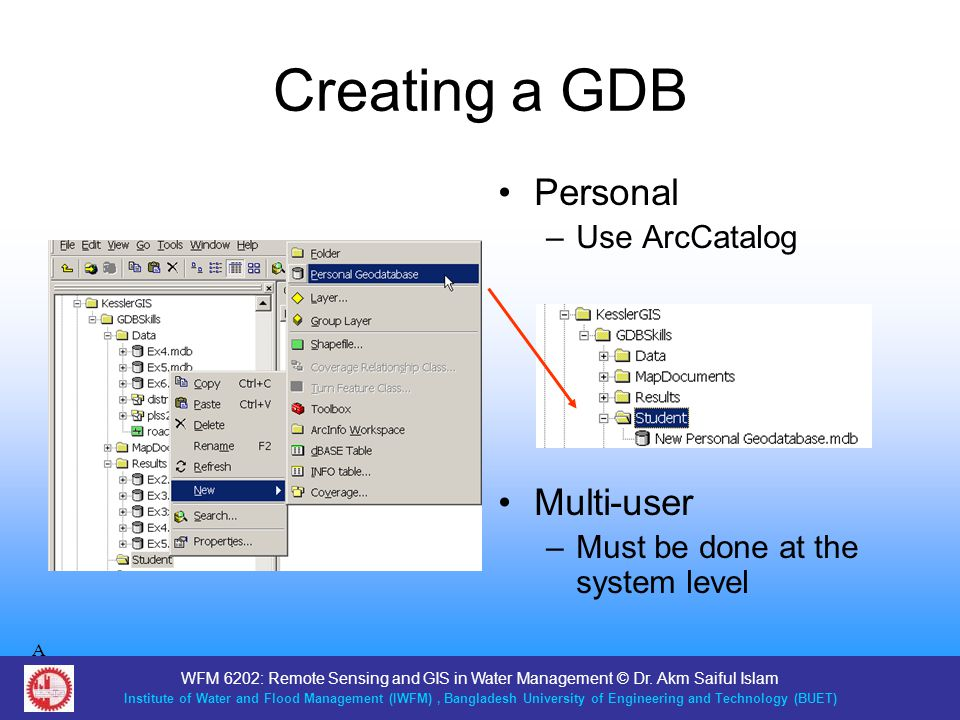 Creating a GDB Personal Multi-user Use ArcCatalog