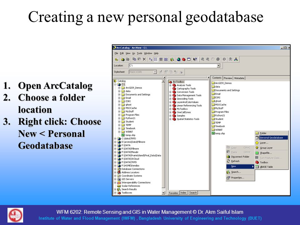 Creating a new personal geodatabase