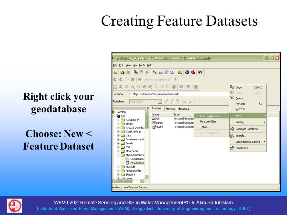 Right click your geodatabase Choose: New < Feature Dataset