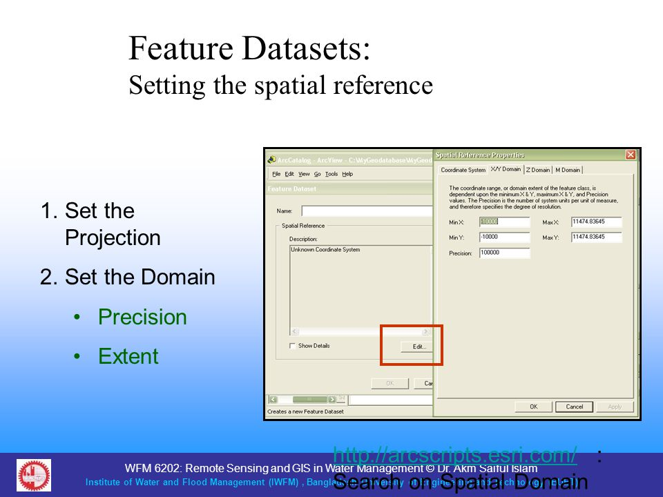 Feature Datasets: Setting the spatial reference