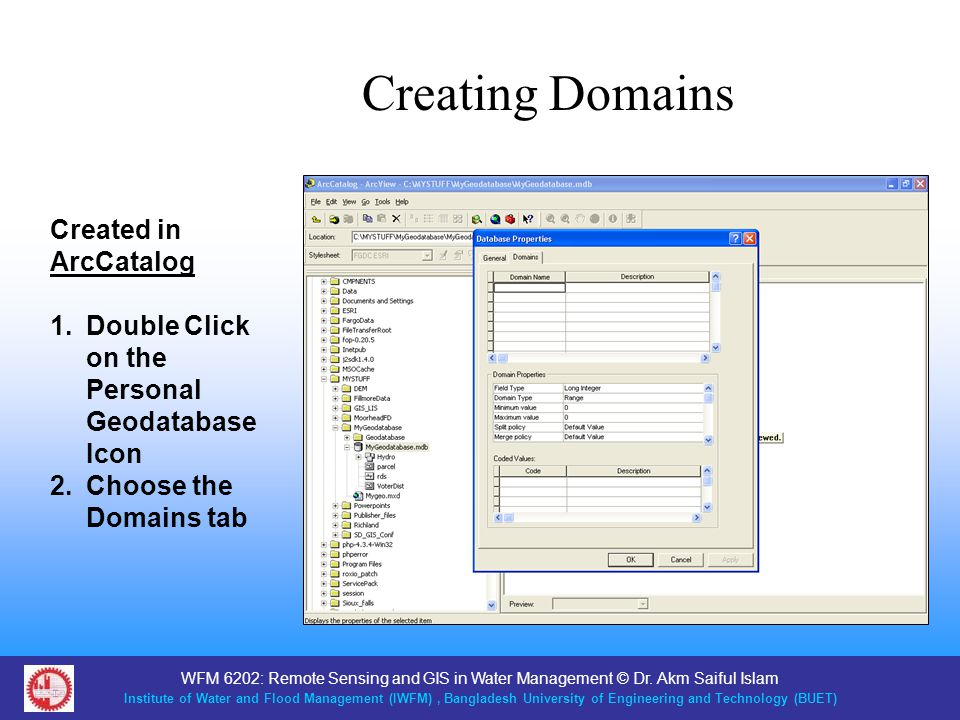 Creating Domains Created in ArcCatalog