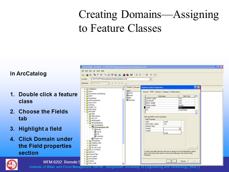Creating Domains—Assigning to Feature Classes