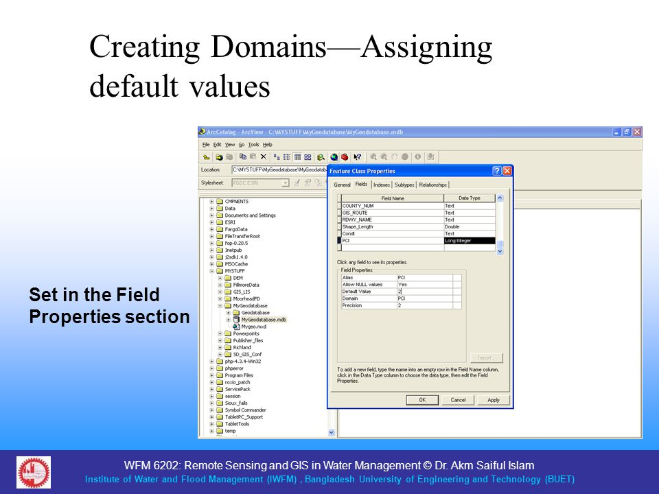 Creating Domains—Assigning default values