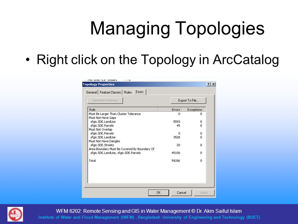 Managing Topologies Right click on the Topology in ArcCatalog