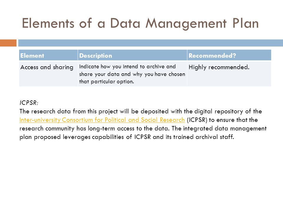 Elements of a Data Management Plan