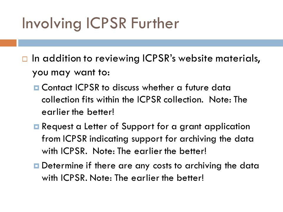 Involving ICPSR Further