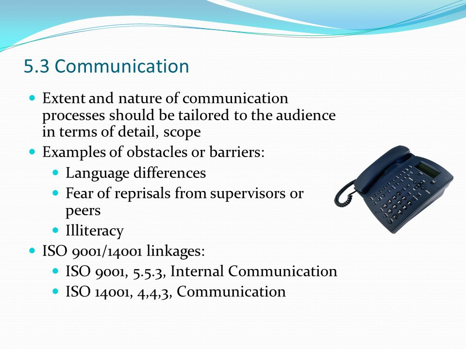 5.3 Communication Extent and nature of communication processes should be tailored to the audience in terms of detail, scope.