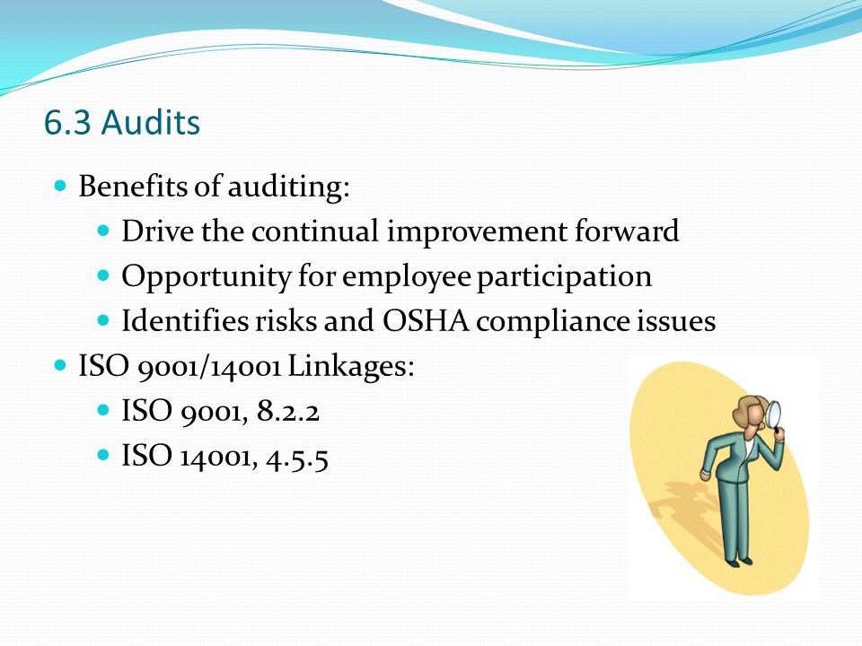 6.3 Audits Benefits of auditing: