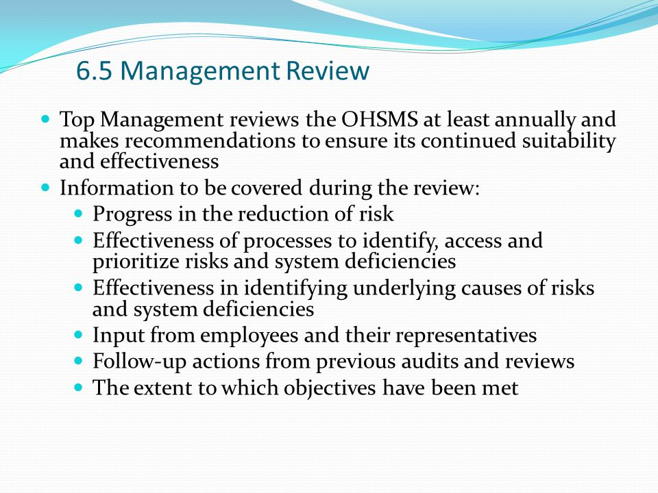 6.5 Management Review