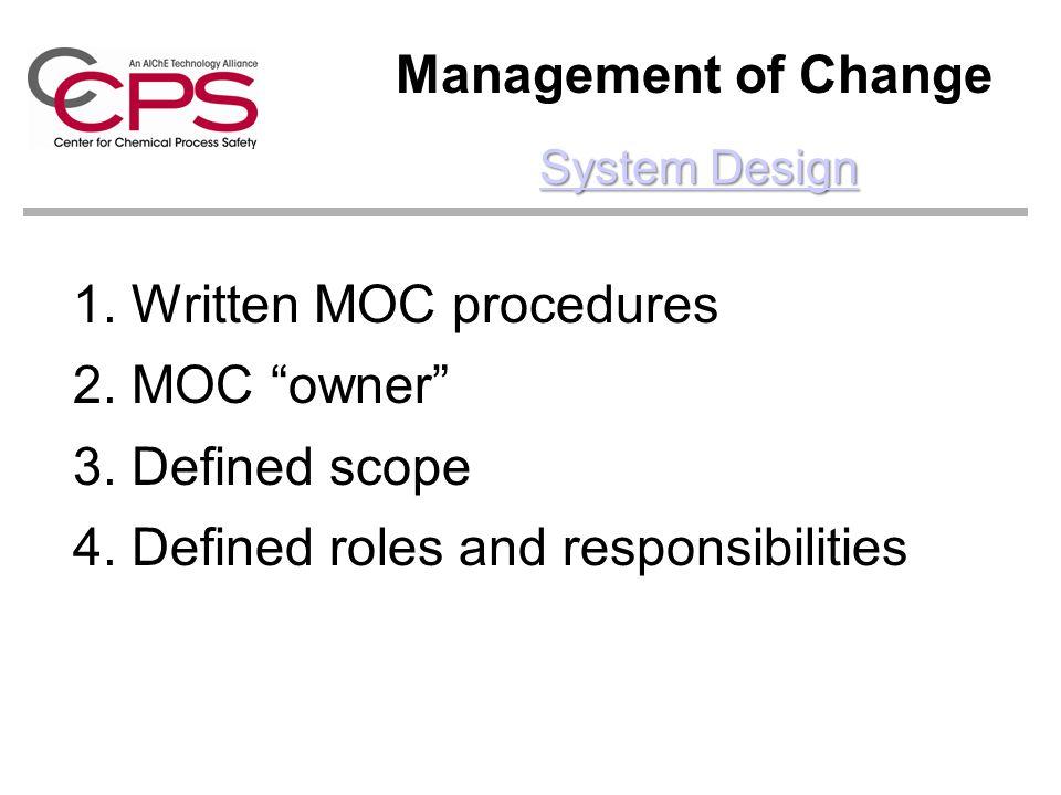 Written MOC procedures MOC owner Defined scope