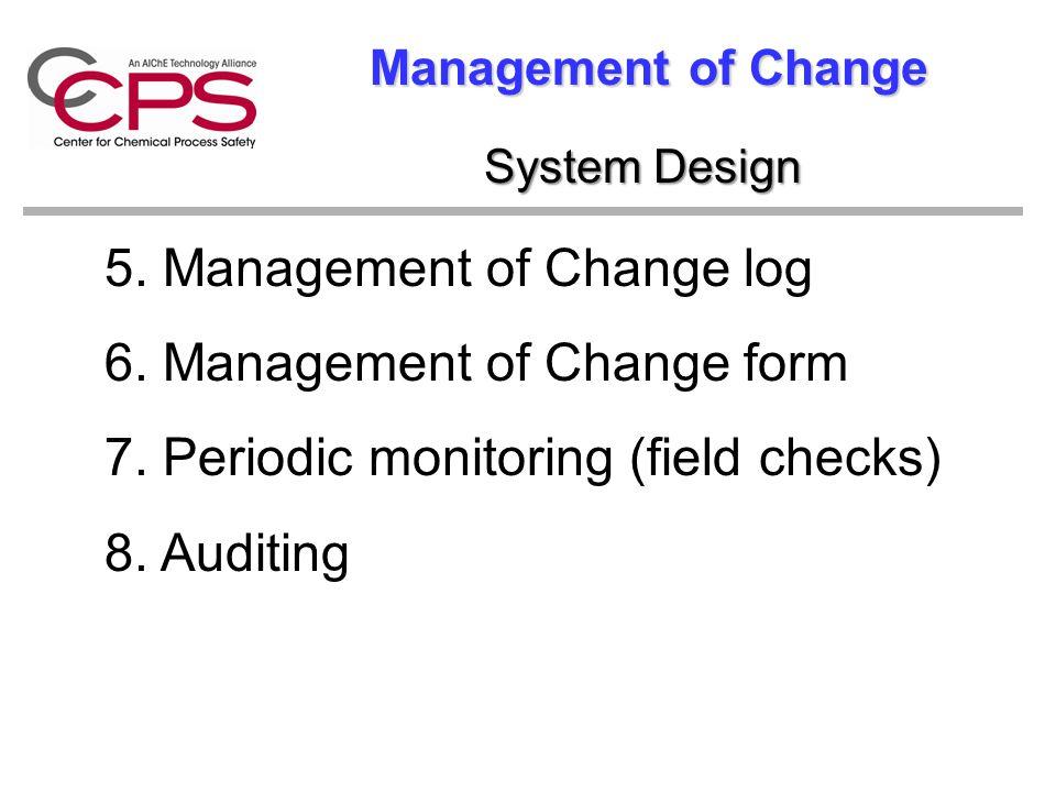 5. Management of Change log 6. Management of Change form