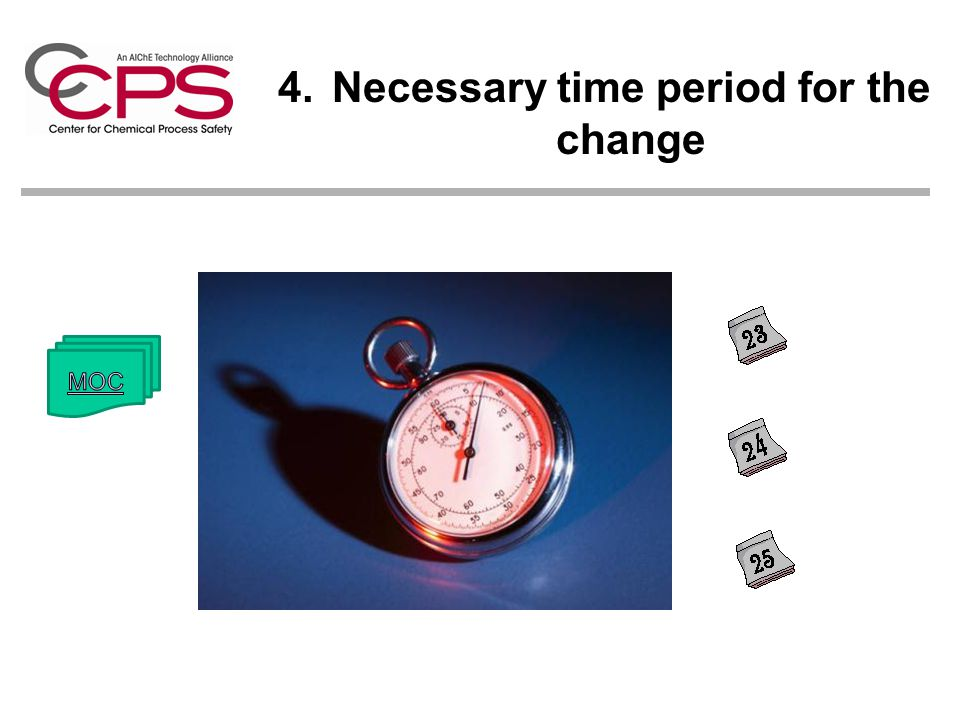 Necessary time period for the change