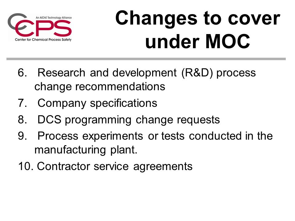 Changes to cover under MOC