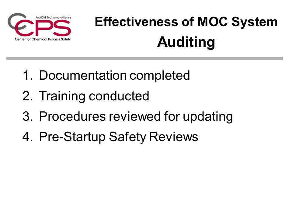 Effectiveness of MOC System Auditing