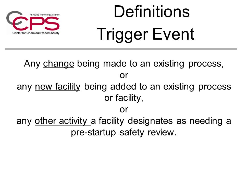Definitions Trigger Event