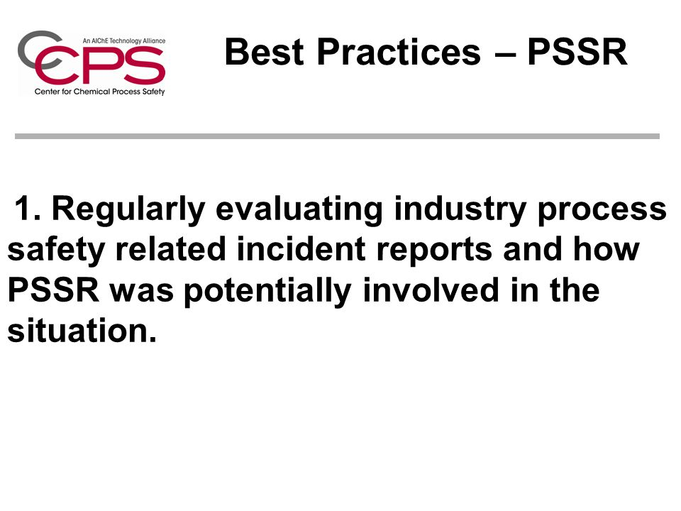 Best Practices – PSSR