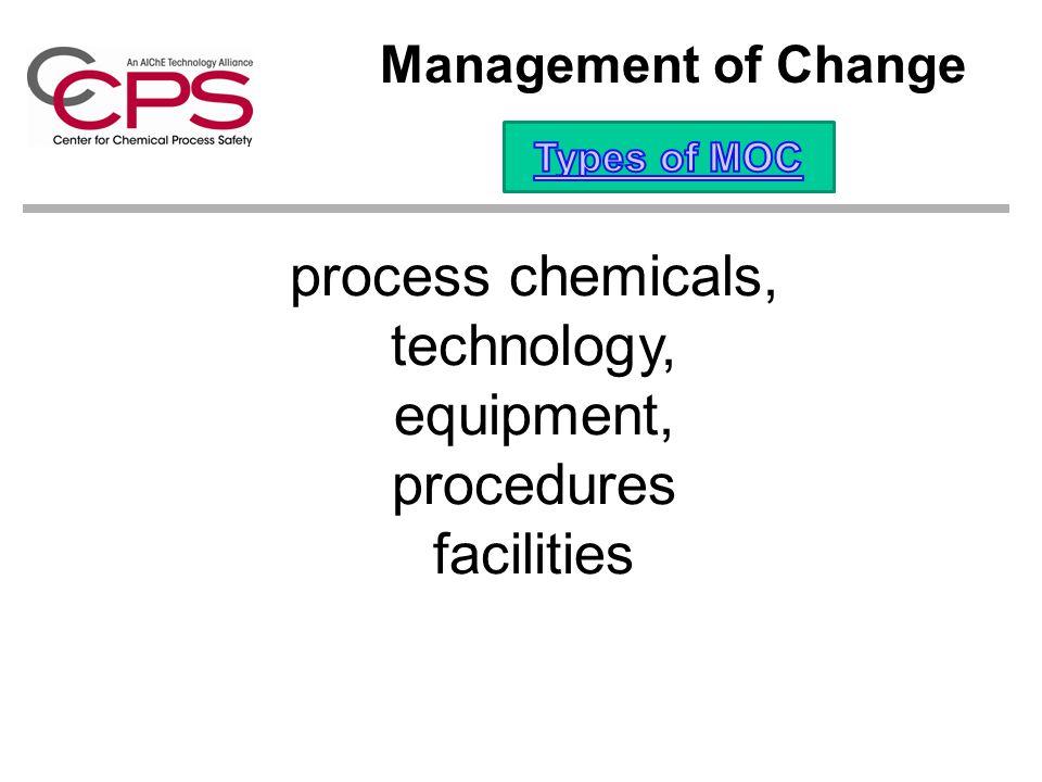 process chemicals, technology, equipment, procedures facilities