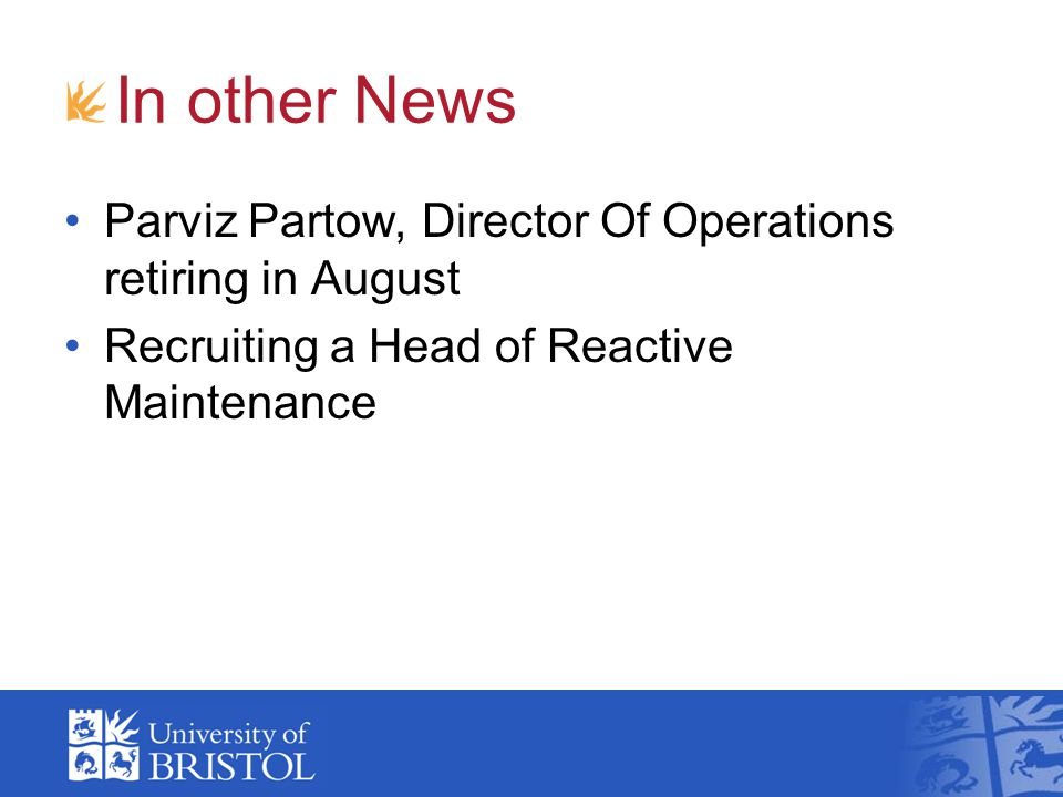 In other News Parviz Partow, Director Of Operations retiring in August
