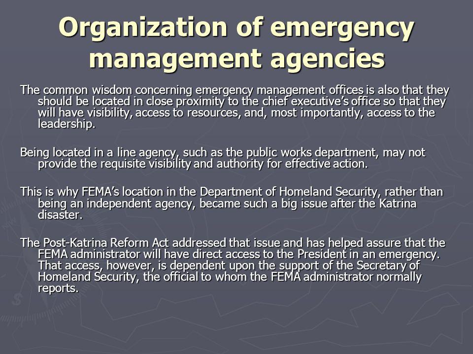 Organization of emergency management agencies