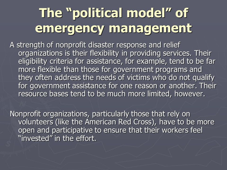 The political model of emergency management