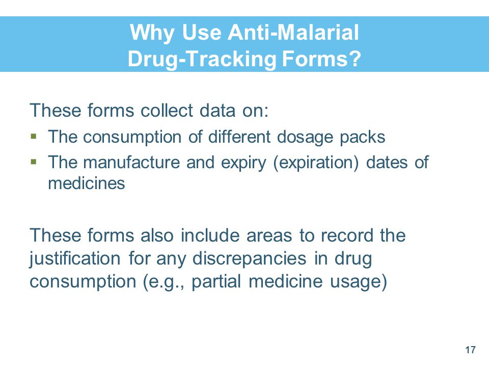 Why Use Anti-Malarial Drug-Tracking Forms