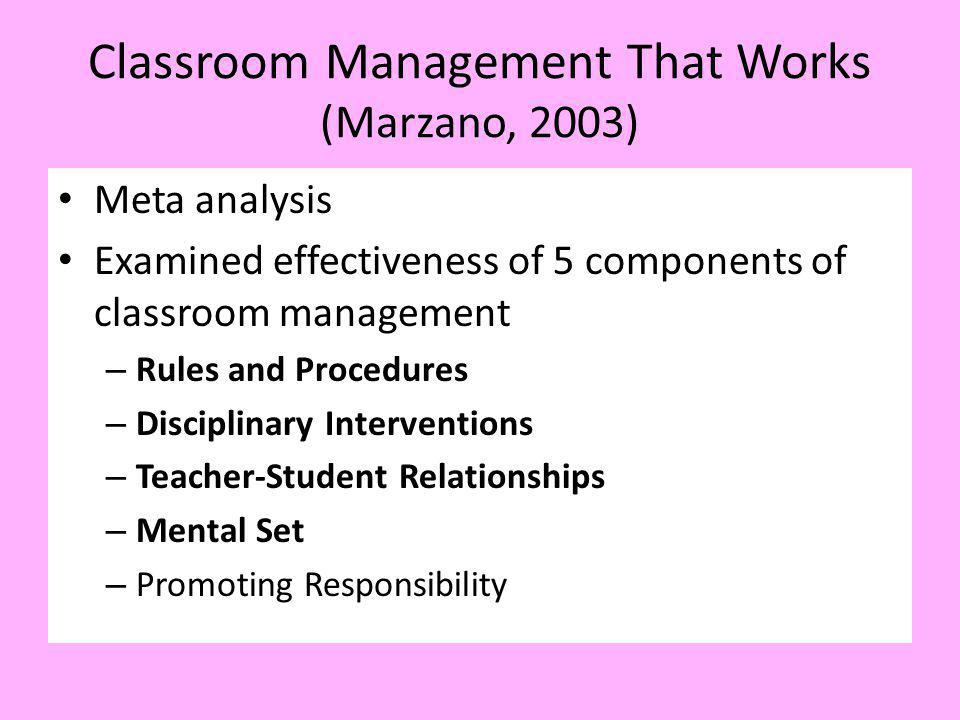 Classroom Management That Works (Marzano, 2003)