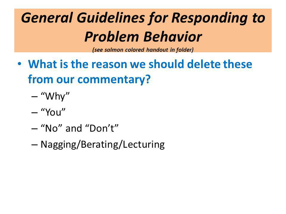 General Guidelines for Responding to Problem Behavior (see salmon colored handout in folder)