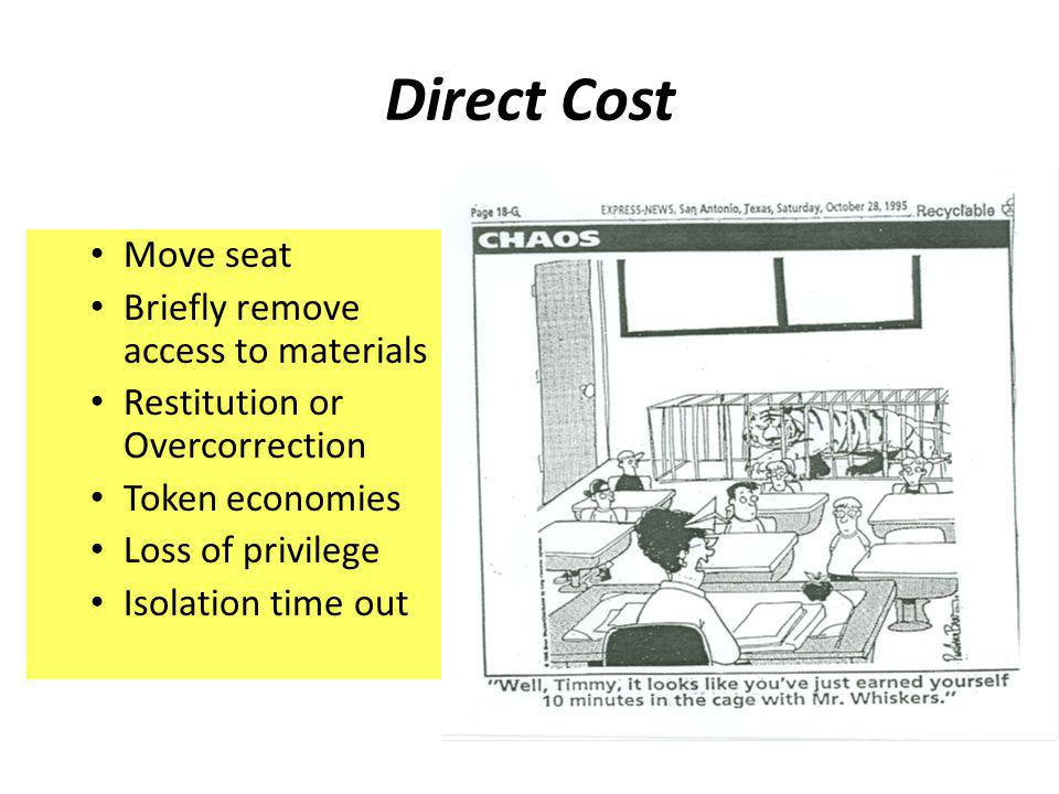 Direct Cost Move seat Briefly remove access to materials